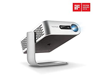 ViewSonic M1+ WVGA Ultra-Portable 300 LED Lumens Projector with WiFi Bluetooth and Dual Harman Kardon Speakers - Silver