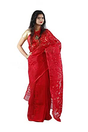 KALPANA ENTERPRISE Dhakai Jamdani Made Self Designed Saree For Women's-Red