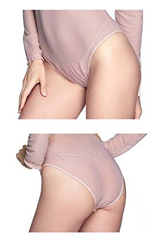 Lannorn Damen 6 Farben Langarm Transparent Body, Gitter Tüllbody Bodysuit Einteiliger Reizwäsche Netzbody Dreieck Overall. Fleischfarbe