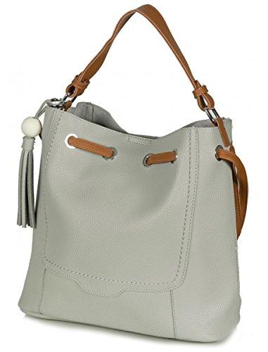 Taschenloft Damen Beuteltasche + kleine Abendtasche Taschen Set Kunstleder (32 x 29 x 13 cm) Hellgrau