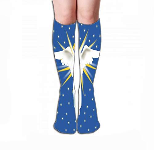 Kostüm Heaven's Angel - Jiuyiqiw4 Hohe Socken Women's Tube Stockings Athletic Crew Socks 19.7