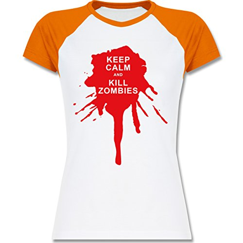 Keep calm - Keep calm and kill Zombies - zweifarbiges Baseballshirt / Raglan T-Shirt für Damen Weiß/Orange