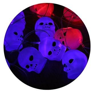 A-szcxtop Happy Halloween Papier Kürbis Laterne Lichterkette mit LED Jack-O-Lantern für Maskerade Party Requisiten 10 Stück Kürbis-Laterne Skeleton String Light