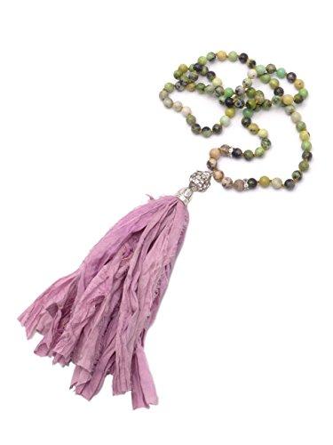 BENAVA Damen Boho Kette Edelstein Jaspis Perlen Quaste aus Seide Anhänger Bunt Lange Halskette 80 cm -