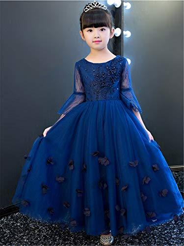 ELEGENCE-Z Blumenmädchen Kleid, blau Abendkleid Prinzessin Hochzeitskleid Tanz Ball Party Lange Kleider (Prinzessin Kleider Geschwollene)