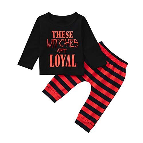 Babykleidung,Sannysis Kleinkind Baby Jungen Brief Tops T Shirts Striped Prin Hosen Halloween Kleidung Sets (100, Schwarz)