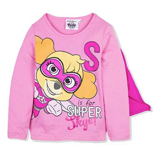 Paw patrol - maglia maglietta t-shirt premium con mantello e maschera rimuovibile - skye - bambina - prodotto origianale con licenza ufficiare 1111hr [rosa - 5 anni - 110 cm]