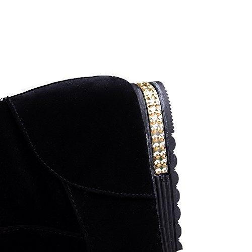 VogueZone009 Damen Rein Blend-Materialien Niedriger Absatz Ziehen Auf Rund Zehe Stiefel Schwarz