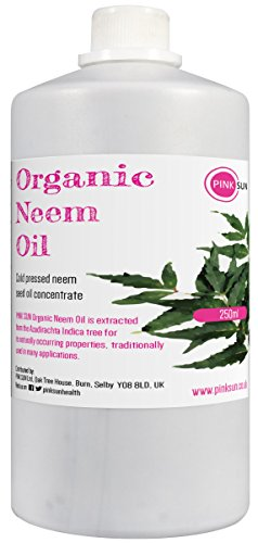 Pure Organic Neem Oil 250ml (or 1 litre) Cold Pressed Unrefined Virgin Concentrate - Natural Insect Flea Mite Repellent for Plants and Pets Horses Dogs Skin and Hair Care PINK SUN