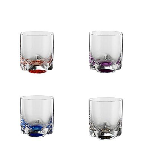 Bohemia Cristal 093 006 149 4er-Set Becher Bahama 280 ml aus Kristallglas mit farbig dekoriertem Boden Bahama Becher
