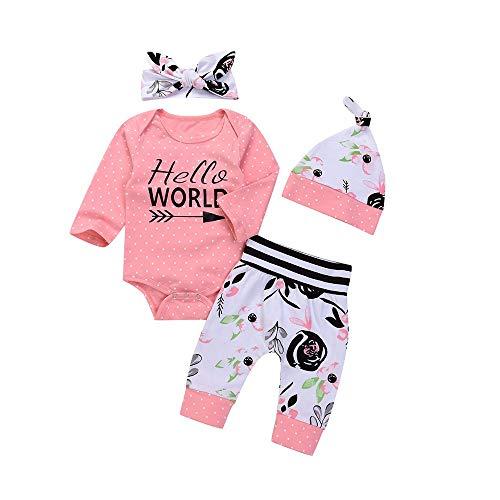 Yanhoo Baby Bekleidungsset,Halloween Kostüm Outfits 4 Stück Baby Langarm Hello World Brief Print Strampler Overall Outfits + Hosen +Hat +Haarband Jungen Mädchen Winter Kleidung Set