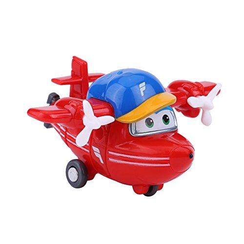 Dilwe Mini Super Wings Transformable Robot Avión Juguete Animado Figura de Acción para Niños Regalo(#1)