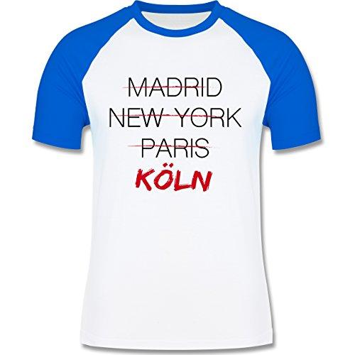 Shirtracer Städte - Weltstadt Köln - Herren Baseball Shirt Weiß/Royalblau