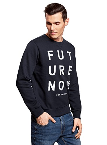 oodji Ultra Herren Sweatshirt mit Kontrastdruck Blau (7912P)