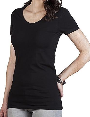 V-Neck T-Shirt Slim Fit Lang Damen, M,
