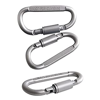 Momangel Aluminium Karabiner D-Ring Schnalle Pack, Wandern Snap Schnalle Schlüsselanhänger Clip Haken, 5Stück, Silber, Einheitsgröße