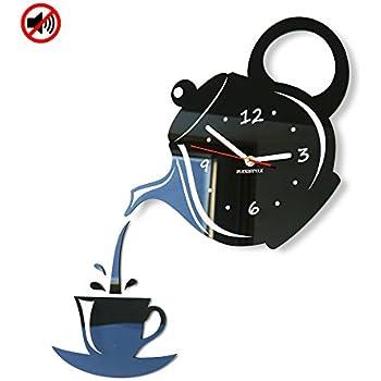 Orologio da parete da cucina Tazza e Bricco marrone nero silenzioso ...