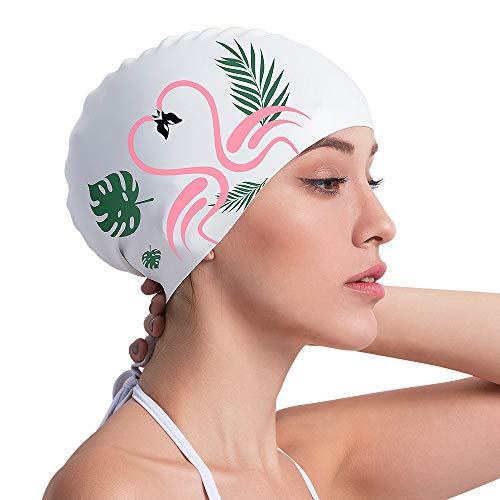 COPOZZ Erwachsene Badekappe, Wasserdicht Schwimmkappe für Damen Mädchen, Lange Haare Silikon Swimming Cap Bademütze für Frauen (Silikon Badekappe Für Frauen)