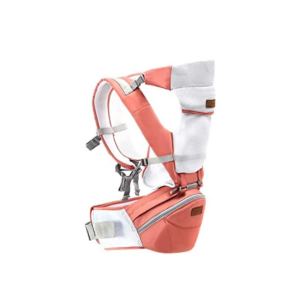 SONARIN 3 in 1Multifunction Hipseat Baby Carrier,Ergonomic,Mummy Bag,100% Cotton,Breathable mesh Backing,Adapted to Your Child's Growing,100% Guarantee and Free DELIVERY,Ideal Gift(Pink) SONARIN Applicable age and Weight:0-36 months of baby, the maximum load: 36KG, and adjustable the waist size can be up to 45.3 inches (about 115cm). Material:designers carefully selected soft and delicate 100% cotton fabric. Resistant to wash, do not fade, External use of 3D breathable mesh,15mm soft cushion,to the baby comfortable and safe experience. 30mm sponge filled, effectively relieve mother's abdominal pressure. Description:patented design of the auxiliary spine micro-C structure and leg opening design, natural M-type sitting. Removable backplane, hold the baby back, perfect support horizontal hold.The baby carrier and the hipseat junction have a protective pad,intimate design, so that your baby more comfortable. 1