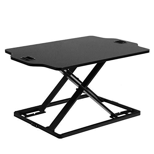 SONGMICS Sitz-Steh-Schreibtisch Höhenverstellbarer Schreibtischaufsatz, Ergonomischer Schreibtisch Konverter für Computer, Laptop und Bürobedarf, Kompatibel mit Monitorhalterung, Schwarz LSD02BK