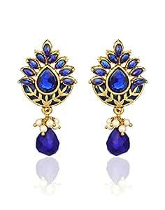 Zaveri Pearls Royal Blue Enamelled Earring for Women-ZPFK305