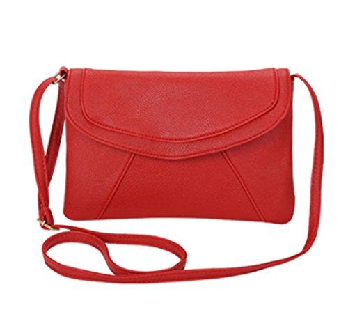 Chinget Damen Jahrgang PU Leder Handtaschen Crossbody Schulter Messenger Taschen Kuriertaschen Rot
