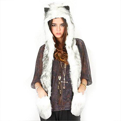 Unisex Full Animal capucha sudadera con capucha sombrero invierno caliente suave piel sintética de Fluffy 3en 1Gorro con manoplas guantes de bolsillo largo bufanda para hombres mujeres niñas, gran Navidad regalo de cumpleaños, mujer, White with black, t