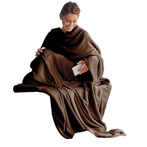 CelinaTex TV-Decke Kuscheldecke mit Ärmeln und Fußtasche XL 170 x 200 cm dunkel braun Coral Fleece Tagesdecke Ärmeldecke