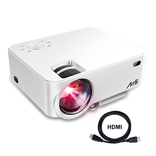 Artlii Mini Proyector 2000 lúmenes, Proyector Portátil, Proyector Cine en Casa Soporte Full HD, HDMI, VGA, USB, SD, AV e Interfaz de Auriculares -Blanco