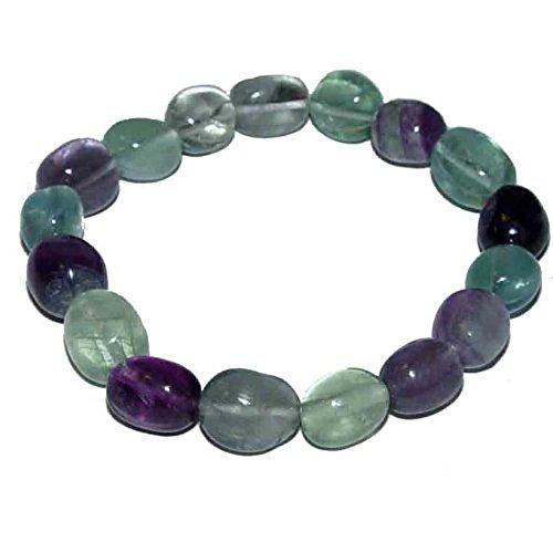 (1 Stück Fluorit Armband schönes Edelsteinarmband ein echter Hingucker elastisch aufgezogen.(2857))