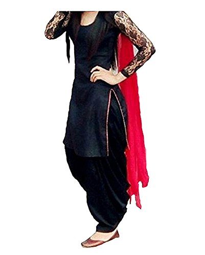 Izonme Women'S Un-Stitched Patialas Salwar Suit Set (Iznm1604_Black_Free Size)