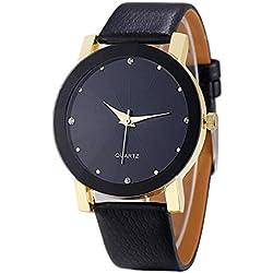 SKY ♥De Lujo De Cuarzo Deportivo Militar De Acero Inoxidable De Dial De Cuero De Pulsera Reloj Hombres Convexa de reloj del cuero (Dorado)