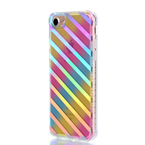 Apple iPhone 7 4.7 Coque, Voguecase TPU avec Absorption de Choc, Etui Silicone Souple Transparent, Légère / Ajustement Parfait Coque Shell Housse Cover pour Apple iPhone 7 4.7 (Placage colorés-petit D Placage colorés-Diagonale stripe