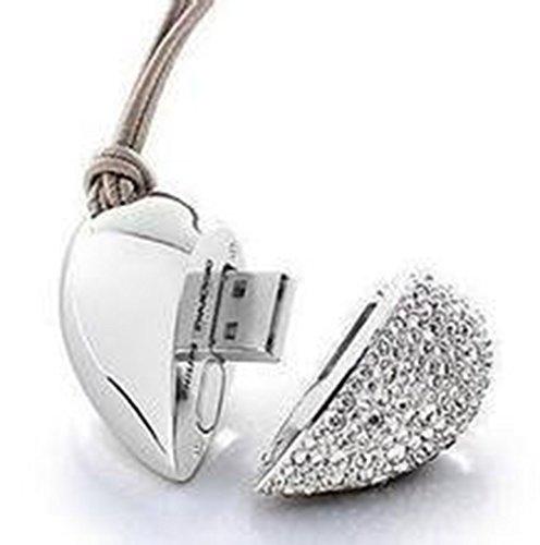 Westeng memoria flash usb di 4gb/8gb/16gb, usb 2.0flash drive usb di archiviazione dati esterno di argento forma del cuore