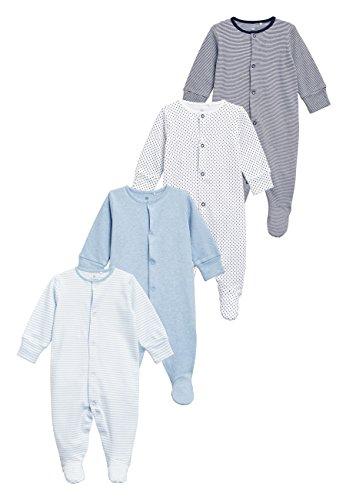next next Baby Jungen Schlafanzüge 4Er Pack (0 Monate Bis 2Jahre) Blau/Weiß Hasta 1 Monat
