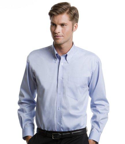 Kustom Kit Herren CORPORATE Oxford Long Sleeve Shirt Blau - Hellblau