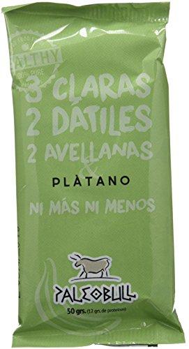Barrita Energética Paleo 100% natural - Alta en proteínas - Avellanas y Plátano (50g) - Pack Ahorro de 15 Barritas