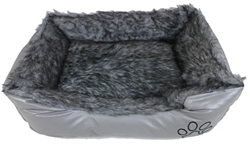Maria Luxury Bedding & Linen Lusso Super Morbido Grande/Cuccia cucce per Cani/Gatti Letti in Grigio-68cm x 54cm + 18cm