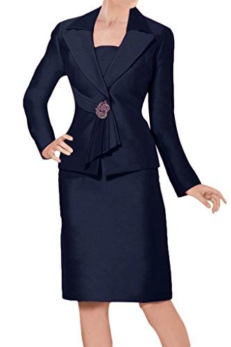 Sunvary Glamour Neu Kurz Mutterkleider 2017 Satin Abendkleider mit Jacke Navy