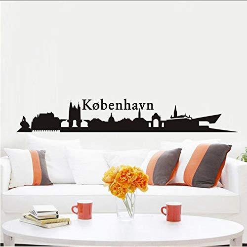 Chellonm Abnehmbare Wandaufkleber Wohnzimmer Wandkunst Dänemark Kopenhagen Silhouette Landschaft Vinyl Wandaufkleber