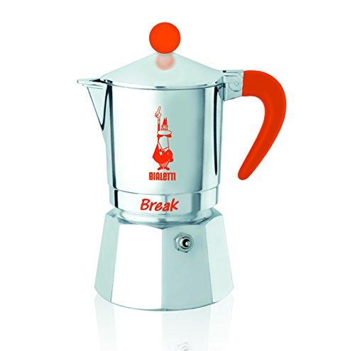Bialetti Break - Cafetera Espresso con 3Tazas, Aluminio, Plateada/Naranja, 14x 10x 17cm