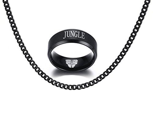 Vnox Edelstahl League of Legends LOL 'JUNGLE' Gravur Fingerringe für Männer Frauen Geschenk,schwarz,frei Panzerkette Halskette