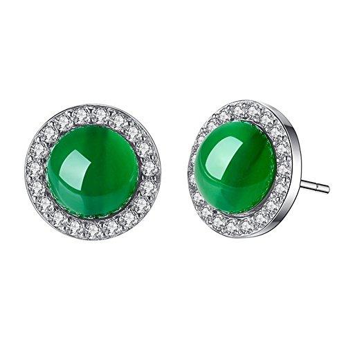 AIUIN 1Paar Ohrringe Mädchen Der Frauen Jade Grün Ohrstecker Silber Ohrringe mit einer Handtasche schöne Taste (Schmuck)