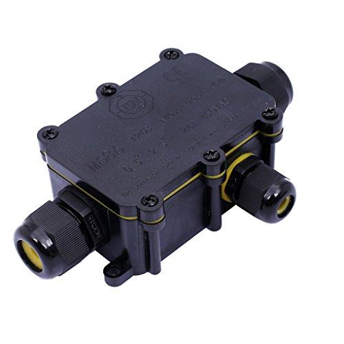 Demino Wasserdicht Schwarz IP68 Kunststoff-Kabel-Draht-Anschluss Gland Elektrischer 3-Kabel-Anschlussdose mit Klemme