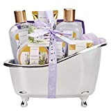 Spa Luxetique Lavender Bath Gift Set, Luxury 8pc Gift Sets for Her, Pampering Bath Tub Gift Set Includes Shower Gel, Bubble Bath, Bath Bomb & More. Perfect Bath Sets for Women or Her Gifts.