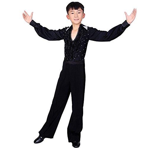 XFentech Hemd Hose Set Junge lateinische Tanz Kinder Tanzkleidung Kostüm Darbietungen Tanzkostüme für Karneval Kindertag - Tanzsport Kostüm Für Jungen