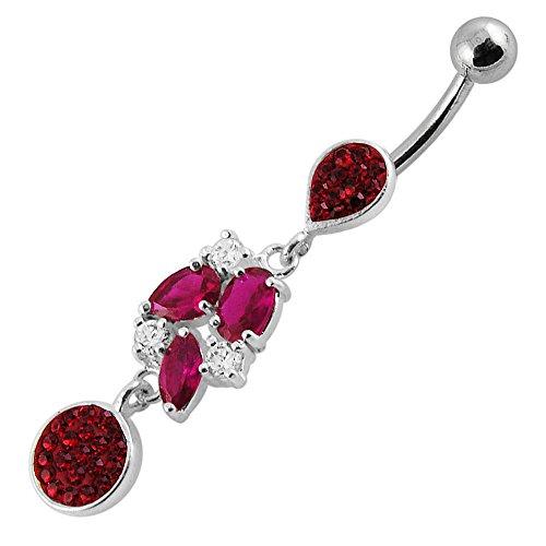 Envie de Design Multi pendantes en argent 925 avec acier inox Belly Rouge