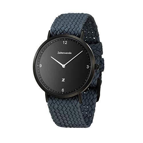 Zeitenwende minimalistische Herren-Uhr Quarz Uhrwerk mit Stufenlos einstellbarem blauen Perlon-Armband und Schweizer Uhrwerk