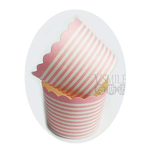 plenTree 50 Stück Roter Hintergrund Punkte Muffin Cupcake Pappbecher Party Becher Hochzeit Geburtstag Party Dekoration Einweg-Werkzeuge: 2 (Cupcake Party Becher)