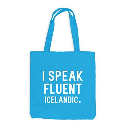 Jutebeutel - I speak fluent Icelandic - Sprache Surfblau